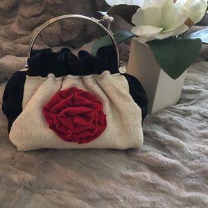 Handbags - Handmade cloth handbag, black/white/red velvet ❤️